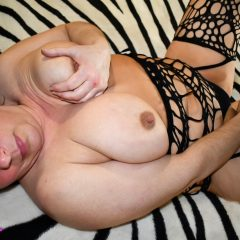 Fishnet Dildo Play